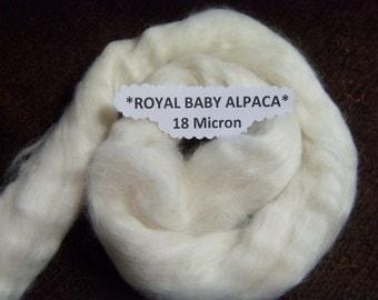 CRAZY Royal Baby 100% Alpaca combed top roving 18 micron 2 ounces