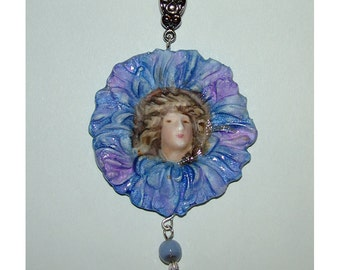 Lady and flower Handmade Pendant OOAK Art Nouveau