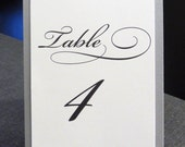 Silver or Gold  Fancy Script Tented Table Numbers set of 2