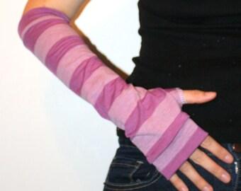 Purple Striped Arm Warmers