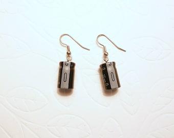 Geek Earrings, Electrolytic Parts, Recycled Capacitors, gray and black, Techie Earrings, Geek Sheek Jewelry