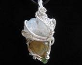 Crystals and Rutilated Quartz wrapped in Sterling Silver