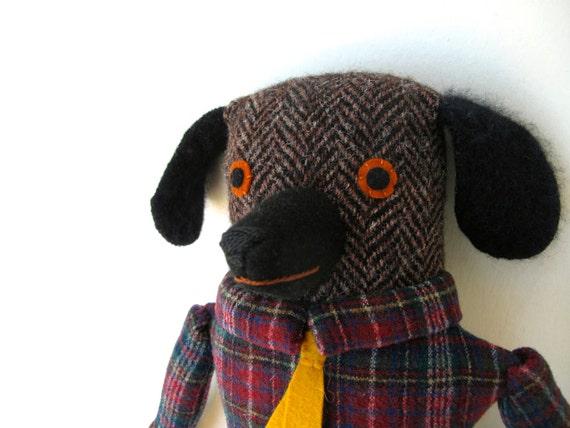 Professor Dog doll boy in Plaid wool