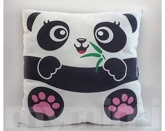 "12 x 12"" Panda Pillow, Jungle Animals, Stuffed Animal, Kids Room Decor, Children's Pillow, Kids Toys, Zoo Themed Nursery Decor"