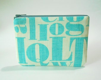 Coin Purse - Zipper Pouch - Clutch - Turquoise Letters - Phone Case
