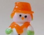 Custom Order for Kim Big Hole Bead Lampwork Glass Snow Man