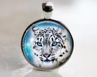 Snow Leopard - Winter Glass Pendant in Silver Bezel Setting - 25mm or 1 Inch round