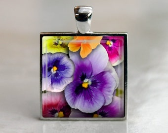 Colorful Pansies  - Glass Tile Pendant in Silver Bezel - 1 Inch Square