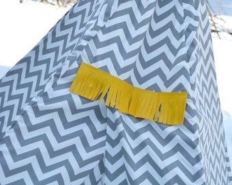 Tepee Chevron Grey Kids teepee play tent wigwam  6ft Tall   5 sided No Assembly Required