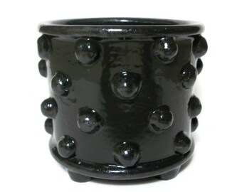 Ceramic Bumpy Planter Pot with Feet - Black