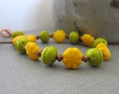 Glass Bracelet, Copper Bracelet, Yellow and Green, Czech Glass, Copper Jewelry, Flower Bracelet, Avocado Green, Marigold Yellow