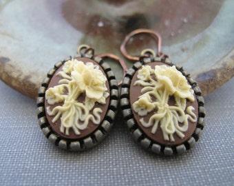 Floral Earrings, Copper Earrings, Cameo Earrings, Floral Cameo, Ivory Flowers, Cameo Jewelry, Ivory and Brown, Dangle Earrings,