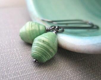 Green Earrings, Paper Earrings, Soft Green, Recycled Paper, Silver Earrings, Oxidized Silver, Sterling Silver, Silver Jewelry