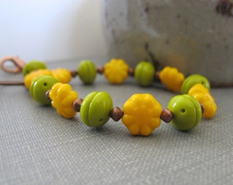 Glass Bracelet, Copper Bracelet, Yellow and Green, Czech Glass, Copper Jewelry, Flower Bracelet, Avocado Green, Marigold Yellow