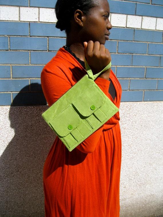SALE - Corduroy Wallet Wristlet - Dorothy Wristlet in Leaf Green Corduroy