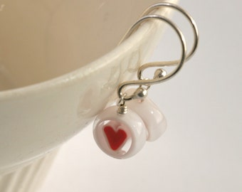 Millefiori GLASS HEART Drop Sterling Silver Earrings // luluglitterbug