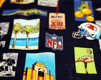 NFL Football Super Bowl XIII Miami FL - Nicole Miller Silk Pocket Square Mens Accessories Vintage Memorabilia Gift Ideas for Him