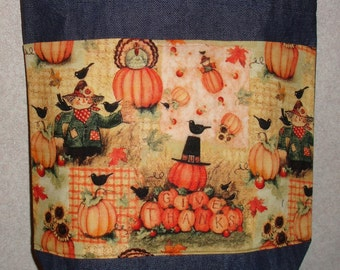 New Medium Handmade Fall Thanksgiving Harvest Pumpkin Give Thanks Denim Tote Bag