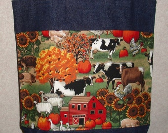 New Handmade Medium Summer Farm Cows Denim Tote Bag