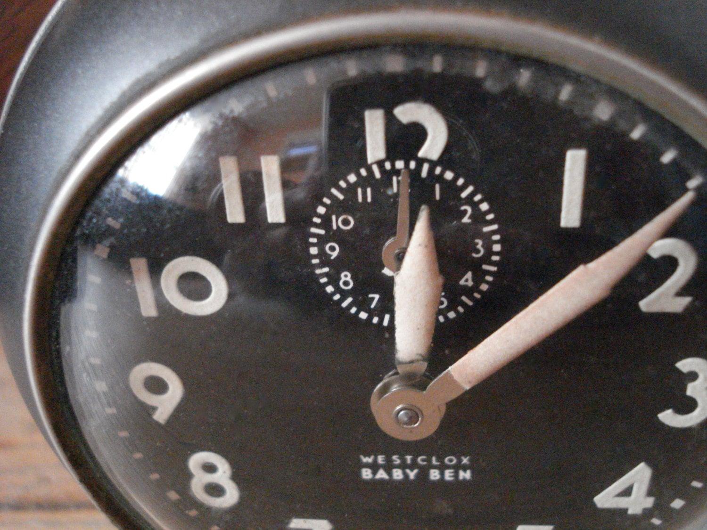 Vintage 1940s Wind Up Alarm Clock Westclox Baby Ben 61R