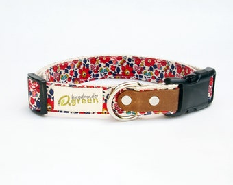 Liberty of London, Red Betsy Ann. Hemp Dog Collar. Small-Medium-Large.