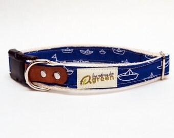 Hemp Dog Collar. Blue Boats Print. Choose your size.