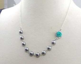 Teal Gray and Silver Flower Bridesmaids Wedding Necklace