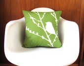 Olive Green Bird on Cherry Blossom 16 inches Square Pillow