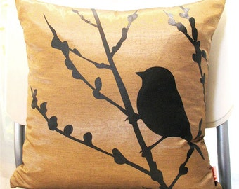 Brown Bird on Cherry Blossom  16 inches Square Pillow