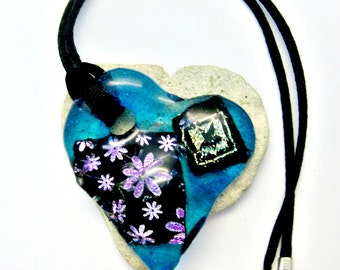 Fused Glass Jewelry - Patchwork Dichroic Pendant - Ready To Wear