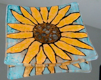 Painted Orange Dasiy with Copper Brown Center Fused Glass Dish