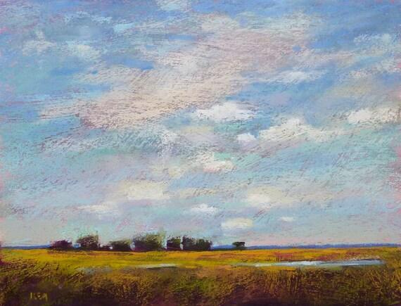 Landscape With Big Sky Prairiemarshclouds Art Original