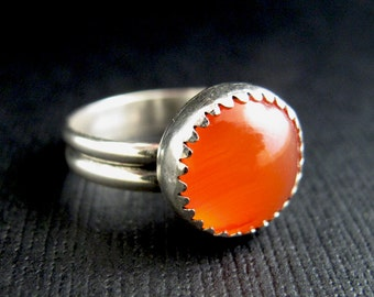 Carnelian Gemstone Ring - Stelring Silver