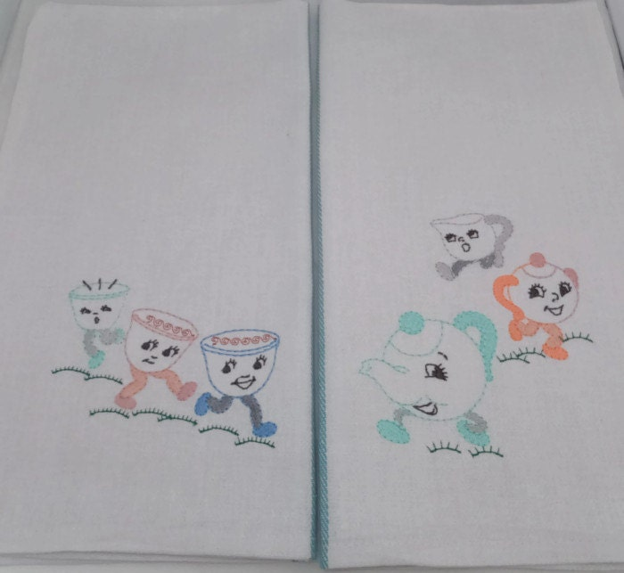 Vintage Kitchen Towels Unused With Retro Embroidery