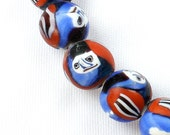 Colorful Indian Millefiori Face Beads OLD 12-14mm  (FULL STRAND)