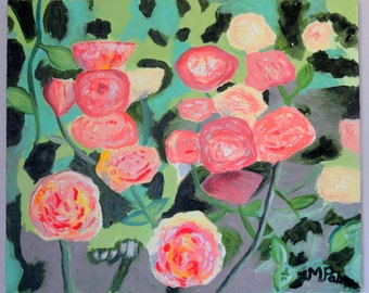 Roses in the Garden Original Oil Painting