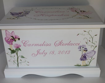 Baby Keepsake box Baby keepsake chest memory box Fairies & Florals hand painted personalized baby gift girl