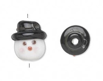 Christmas Snowman Glass Bead Pendant 17x15mm 2 pieces