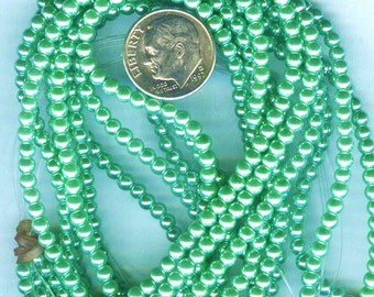 3mm Elegant Vivid Green Glass Pearls 50 pcs