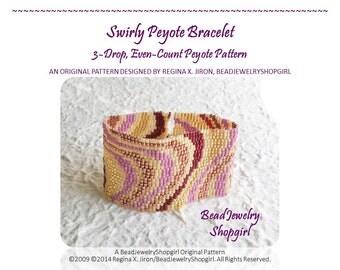 PATTERN TUTORIAL - Swirly Peyote Bracelet, 3-Drop, Even Count - Digital Download