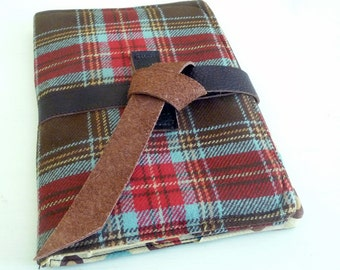 Paperwhite Cover, Kindle Touch Case, Brown Plaid Wool with leather tie