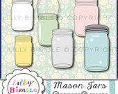 40% off Mason Jars Clipart Spring Summer clip art for wedding invites, birthdays, cards, scrapbooking Instant Download