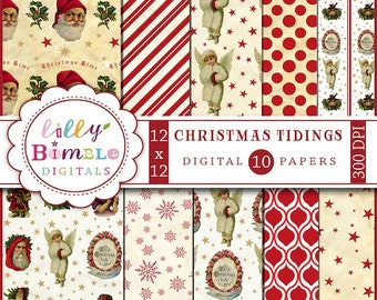 80% off Christmas digital scrapbook paper with Vintage Santa Claus, Snow Angels, Victorian Christmas Tidings Instant Download