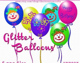 Balloons Clip Art Pack, 6 PNG Balloon Graphics, Digital Scrapbooking, Glitter Balloons, Balloon Clipart, Cute Clipart, Party Balloons Art