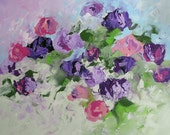 Floral Landscape Original Painting Abstract or Impressionist Art Violet Pink Roses Acrylic Painting by Linda Monfort