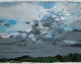 Home Line, Original Landscape Painting on Paper