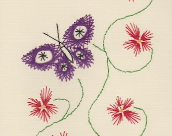 Handmade Pin Prick Embroidery Butterfly and Flowers Cards Set