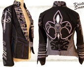 Unisex fleur de lis  burning man rock and roll stage jacket