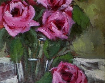 Roses in a Vase Original Oil Painting Abstract Flower Art by Arist Debra Alouise