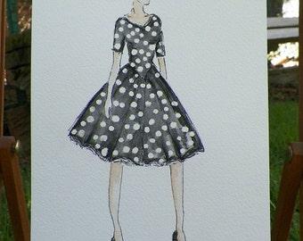 Polka Dots Dress Black White I Feel Pretty Fashion Romantic Watercolor Woman in Gown Dress Fashion Illustration Art Original Painting